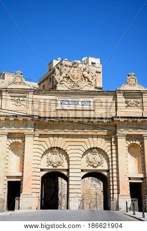 View of Victoria Gate built from limestone Valletta Malta Europe.