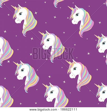 Unicorn seamless pattern. Unicorns with rainbow mane and horn on flat purple background with stars. Vector illustration. Cute magic fantasy wallpaper with white unicorn head.