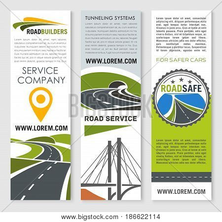 Road construction and development company banner set. Road bridge and tunnel building flyer, highway traffic safety brochure, car trip and travel poster for transportation service themes design