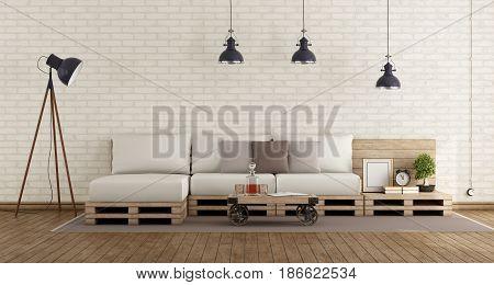 Retro Living Room With Pallet Sofa