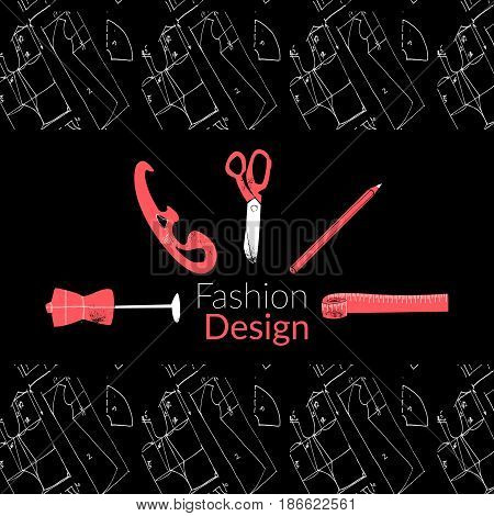 Fashion design logo banner vector illustration EPS10 inky on black background