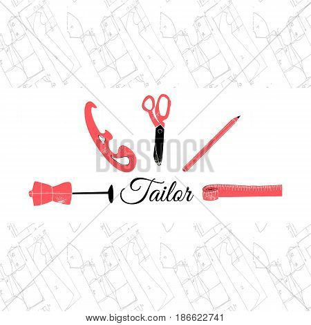 Tailor logo banner vector illustration EPS10 inky on white background