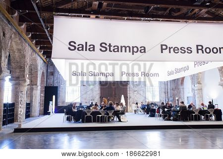 VENICE ITALY - MAY 10: View of the press room of the 57th International art exhibition Venice biennal on May 10 2017