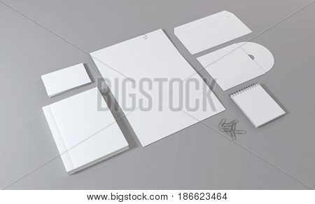 Blank white stationery and corporate identity template. Over gray background. Mock-up for branding identity.