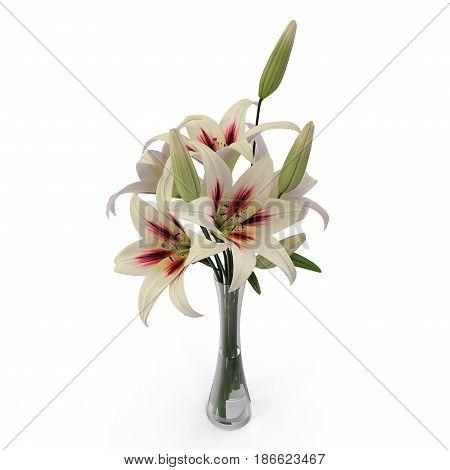 White Lily Vase on white background. 3D illustration