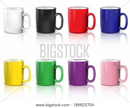 Set of coffee cups. Colorful coffee mugs on white background. Vector illustration.