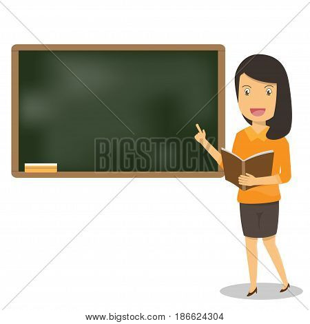 Young female teacher with book on lesson at blackboard in classroom. Teacher showing on board. Education vector illustration