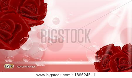 Red roses flowers fragrance for ads. Dazzling effect background. 3D Realistic Vector illustration
