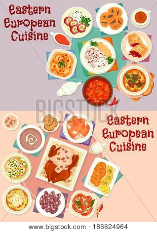 Eastern european cuisine menu icon set with beef, duck and fish baked with sauce, bread and meat soup, pickled sausage, vegetable beef stew, meat roll, cheese and poppy bun, cherry strudel