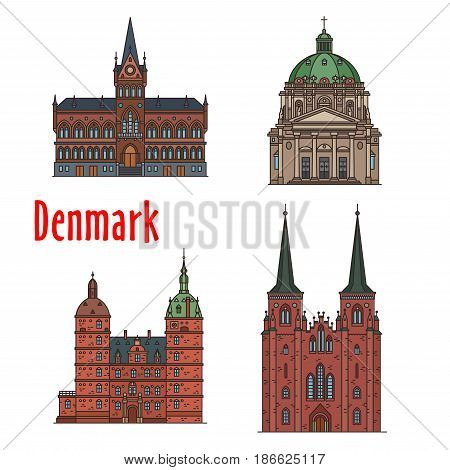 Danish travel landmark of historic and religious buildings thin line icon set. Manor house Vallo Castle, Vejle Town Hall, Lutheran Church Roskilde Cathedral, Evangelical Lutheran Frederik Church