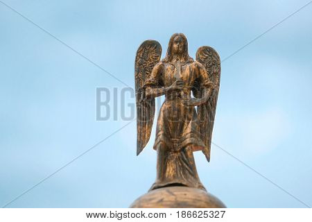 Sculpture of Angel on a church on Red Square in Moscow