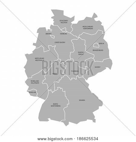 Map of Germany devided to 13 federal states and 3 city-states - Berlin, Bremen and Hamburg, Europe. Simple flat grey vector map with black labels.