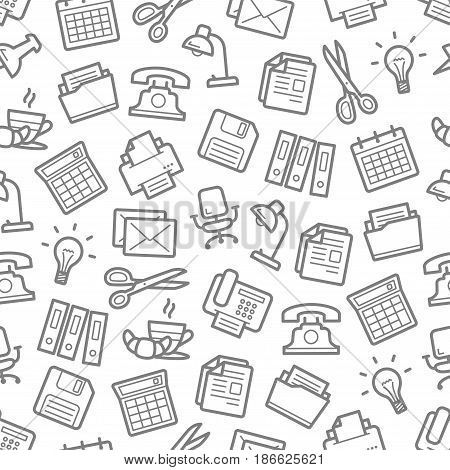 Office supplies and business stationery seamless pattern. Vector calculator, file folders, lamp and coffee with croissant on table, phone, printer or fax, chair and letter envelope or computer disk
