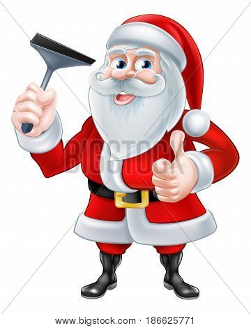 A Christmas cartoon illustration of Santa Claus holding a squeegee and giving a thumbs up