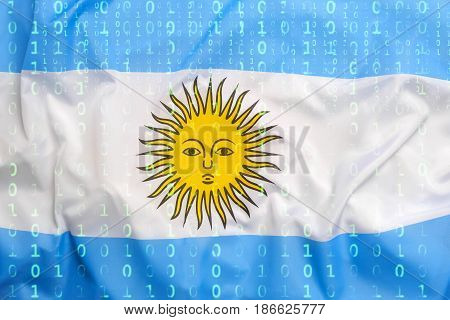 Binary Code With Argentina Flag, Data Protection Concept