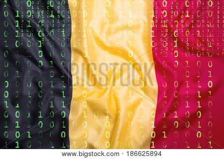 Binary Code With Belgium Flag, Data Protection Concept
