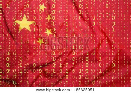 Binary Code With China Flag, Data Protection Concept