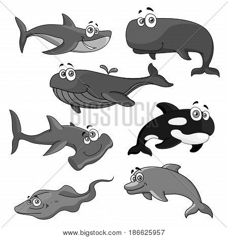 Cartoon big fishes vector icons. Isolated set of ocean whale, killer whale or orca, underwater sea stingray, dolphin or cachalot animal, shark and predatory hammerhead fish
