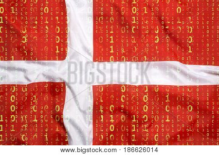 Binary Code With Denmark Flag, Data Protection Concept
