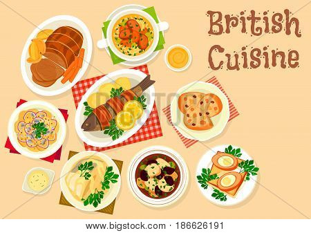 British cuisine tasty dishes icon of roast beef, trout baked in bacon, scottish soup with lamb, fish in cream sauce, potato fish salad, deep fried egg, fruit bread, soup with prune