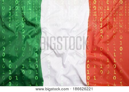 Binary Code With Italy Flag, Data Protection Concept