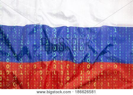 Binary Code With Russia Flag, Data Protection Concept