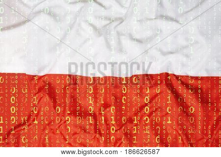 Binary Code With Poland Flag, Data Protection Concept