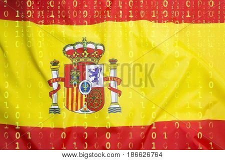 Binary Code With Spain Flag, Data Protection Concept