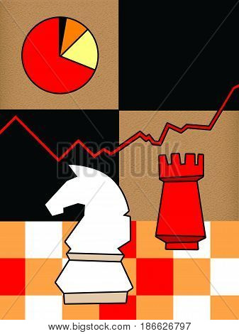 White horse and red rook on a three-color chessboard under the chart line and chart. The result of the strategy is in the business chart and chart. On a textured paper background