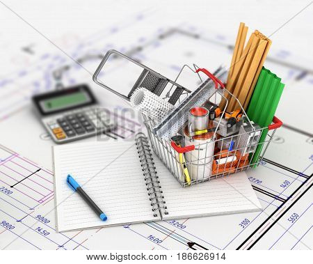shopping cart with building materials placed near the open empty notebook lying on the drawings. 3d illustration