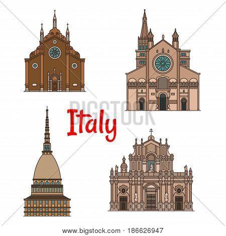 Italian travel landmark building thin line icon set. Minor basilica Frari Church, Mole Antonelliana, Roman Catholic Metropolitan Cathedral of Saint Agatha and Modena Cathedral for tourism theme design