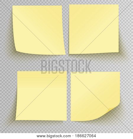 Set of office yellow sticky stickers with shadow isolated on a transparent background. Vector yellow post notes template.