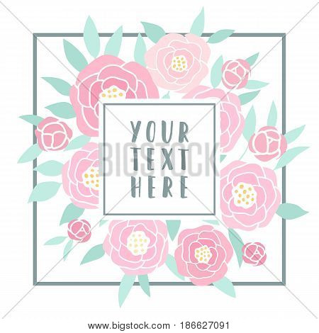 Beautiful greeting card with pink peonies. Vector hand drawn template illustration