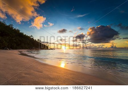Beautiful view of a tropical beach in Praslin, Seychelles