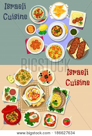 Israeli cuisine Shabbat dinner icon set with meat vegetable soup, stew, chicken dumplings, stuffed fish and forshmak, chickpea hummus and falafel, meatball, challah, donut, potato casserole, couscous