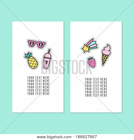 Set of two card templates. Modern pins. Vector hand drawn illustration. Summer, ice cream, fruits