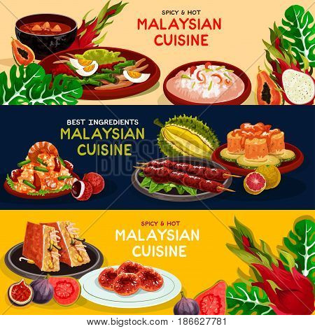 Malaysian cuisine restaurant best offer banner set. Grilled chicken, seafood risotto, fried rice, vegetable and fish salad, papaya soup, stuffed tofu and potato donut menu flyer with exotic fruit