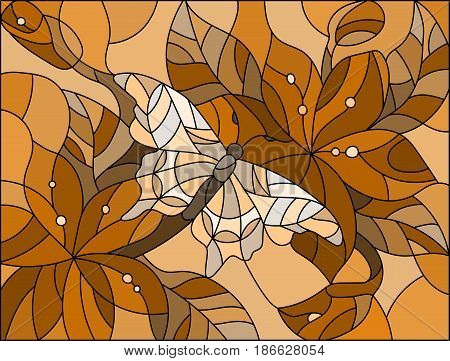 Illustration in stained glass style with butterfly against the sky foliage and flowers brown tone sepia