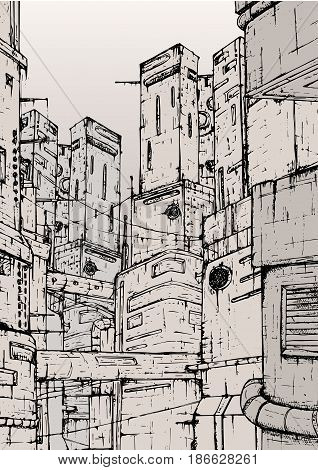 Cyberpunk city. fantastic buildings constructions. Hand drawn monochrome illustration