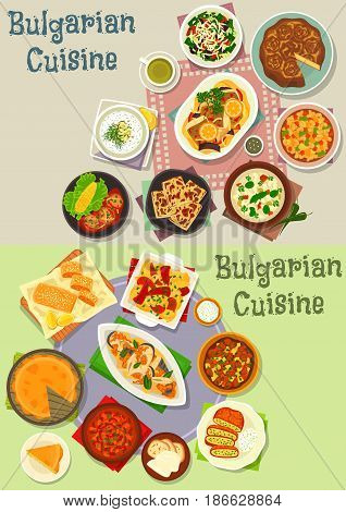 Bulgarian cuisine lunch dishes icon set of meat and fish stew with tomato and bean, stuffed pepper with cheese, vegetable salad, yogurt and bean soup, cheese, potato and fruit pie, meatball