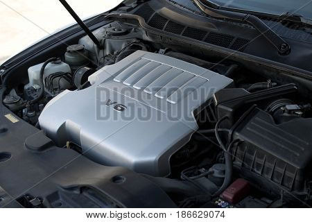 modernd car engine close up. abstract photo