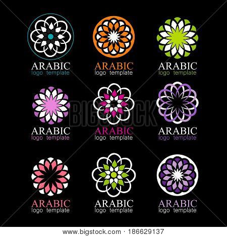 Arabic collection. Round Ornament Patterns. Islam, Arabic, Indian template. Vector Circular ornamental symbols.