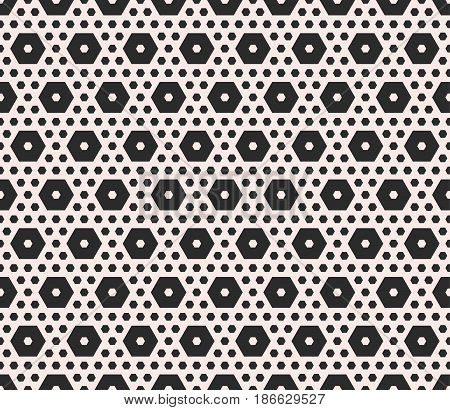 Vector monochrome texture, geometric seamless pattern with different sized hexagons, perforated shapes, honeycombs, hexagonal grid. Modern abstract background. Design element for prints, textile, decor, fabric, web
