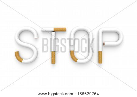 Text stop made of cigarettes on white background. 3D illustration