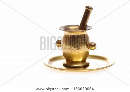 Antique Golden Mortar