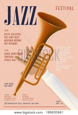 Jazz poster. Template for musical concert placard. Vertical mockup with trumpet and place for text