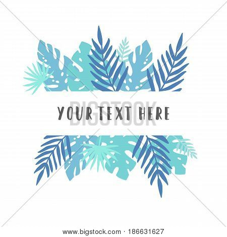 Blue tropical leaves. Vector decoration element. Template
