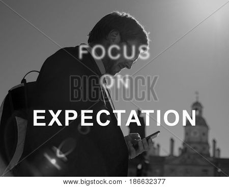 Expectation Businessman using the phone