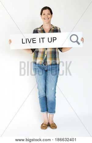 Woman holding banner network graphic overlay