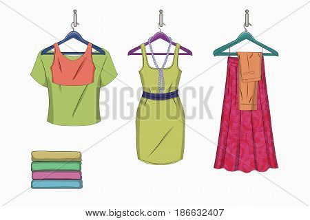 Set of trendy women things on a white background